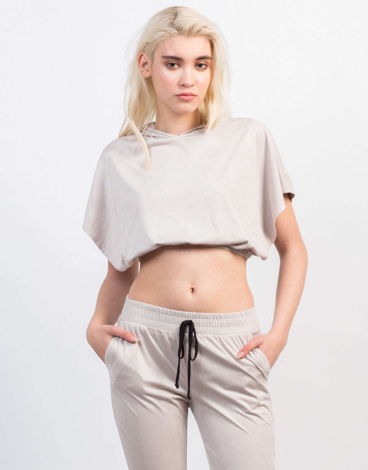 Front View of Suede Hoodie Cropped Top