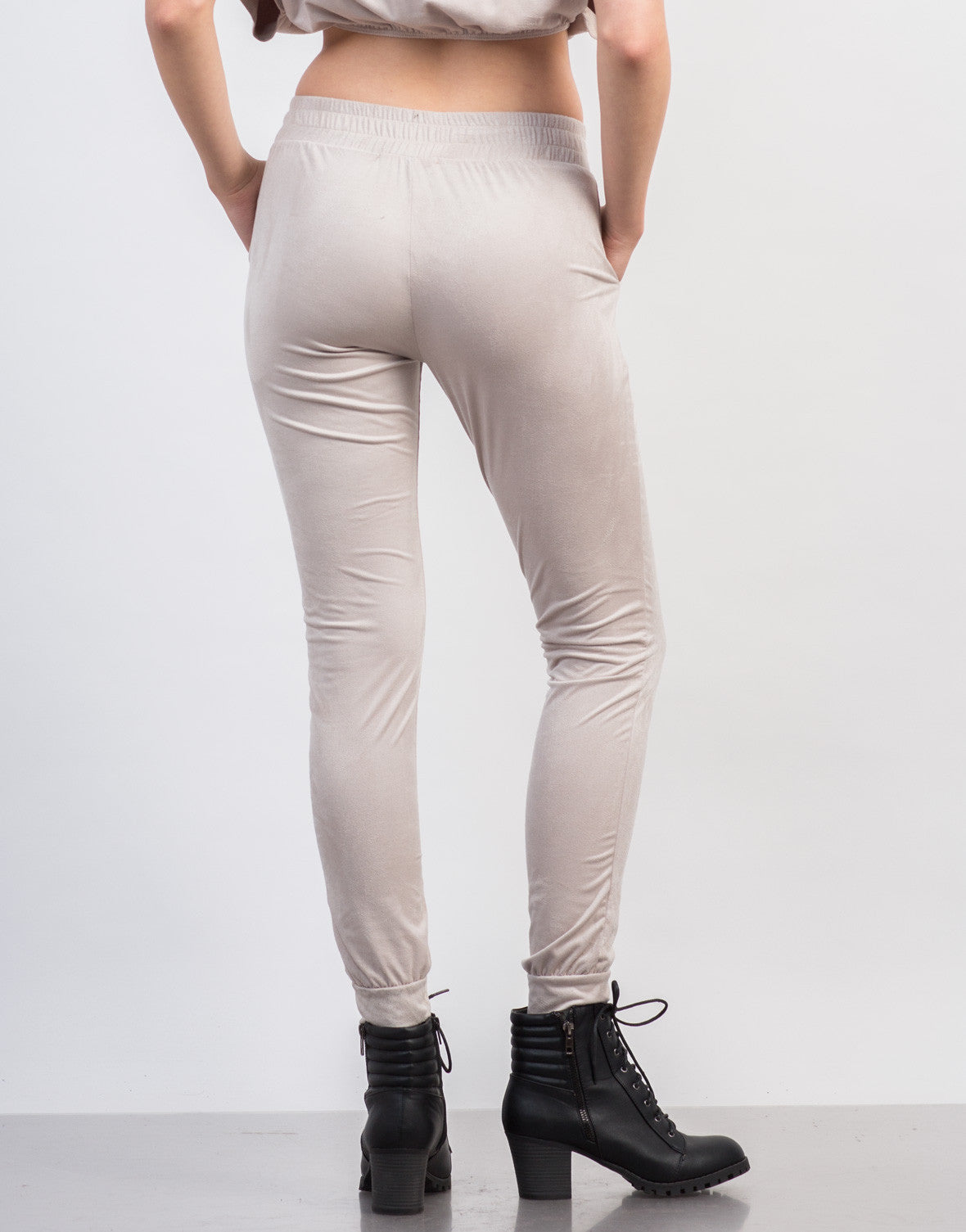 Back View of Suede Jogger Pants