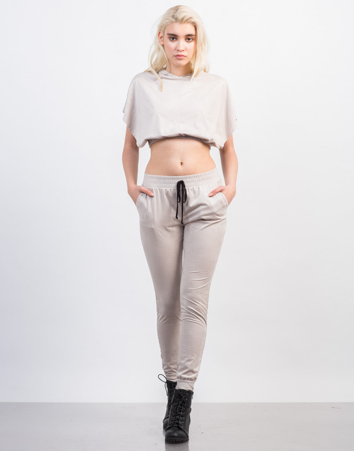 Front View of Suede Jogger Pants
