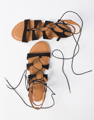 Suede Lace-Up Sandals - 2020AVE
