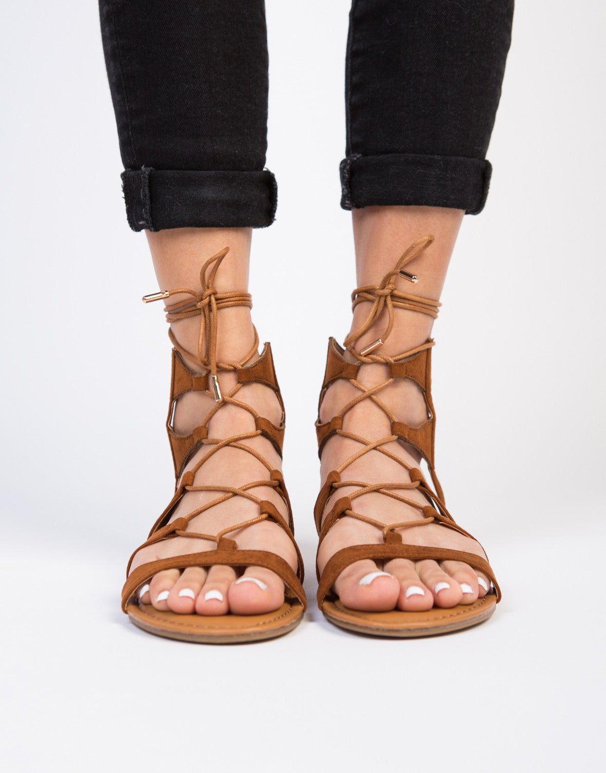 Suede Lace-Up Sandals - Black Strappy