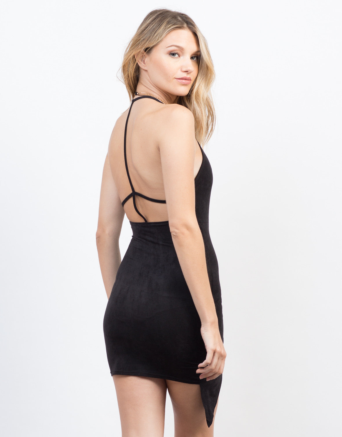 Back View of Suede Me Party Dress