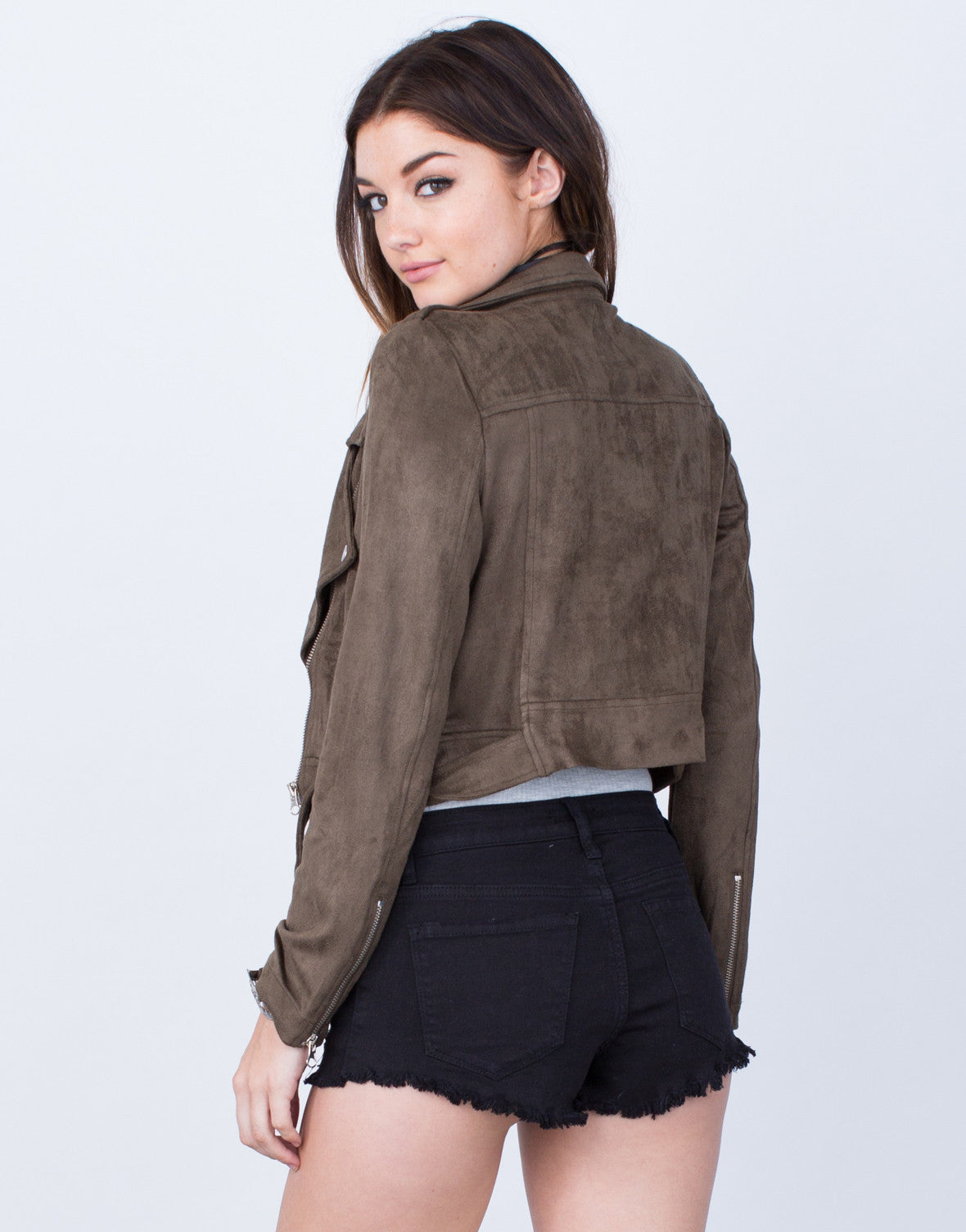 Back View of Suede Moto Jacket