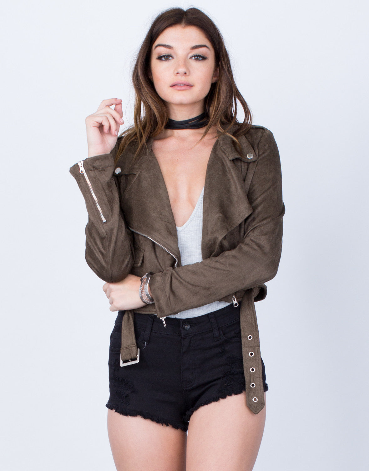 Front View of Suede Moto Jacket