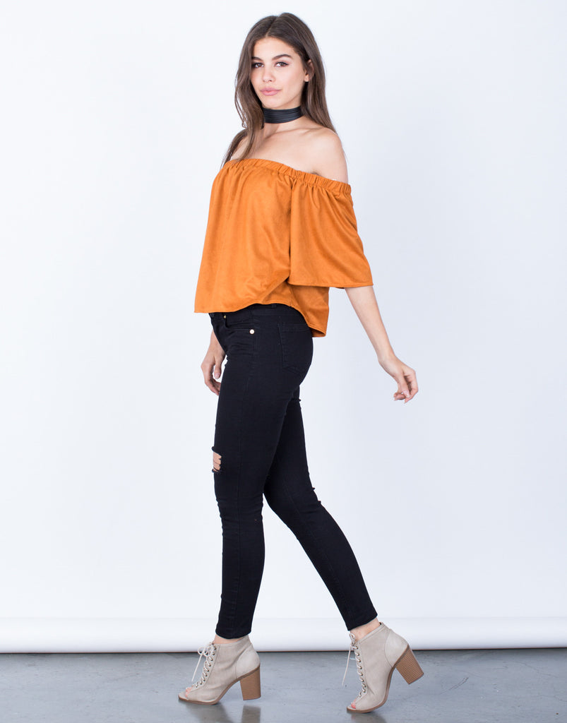 Side View of Suede Off-the-Shoulder Top
