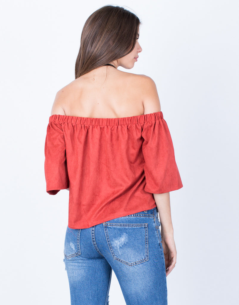 Back View of Suede Off-the-Shoulder Top