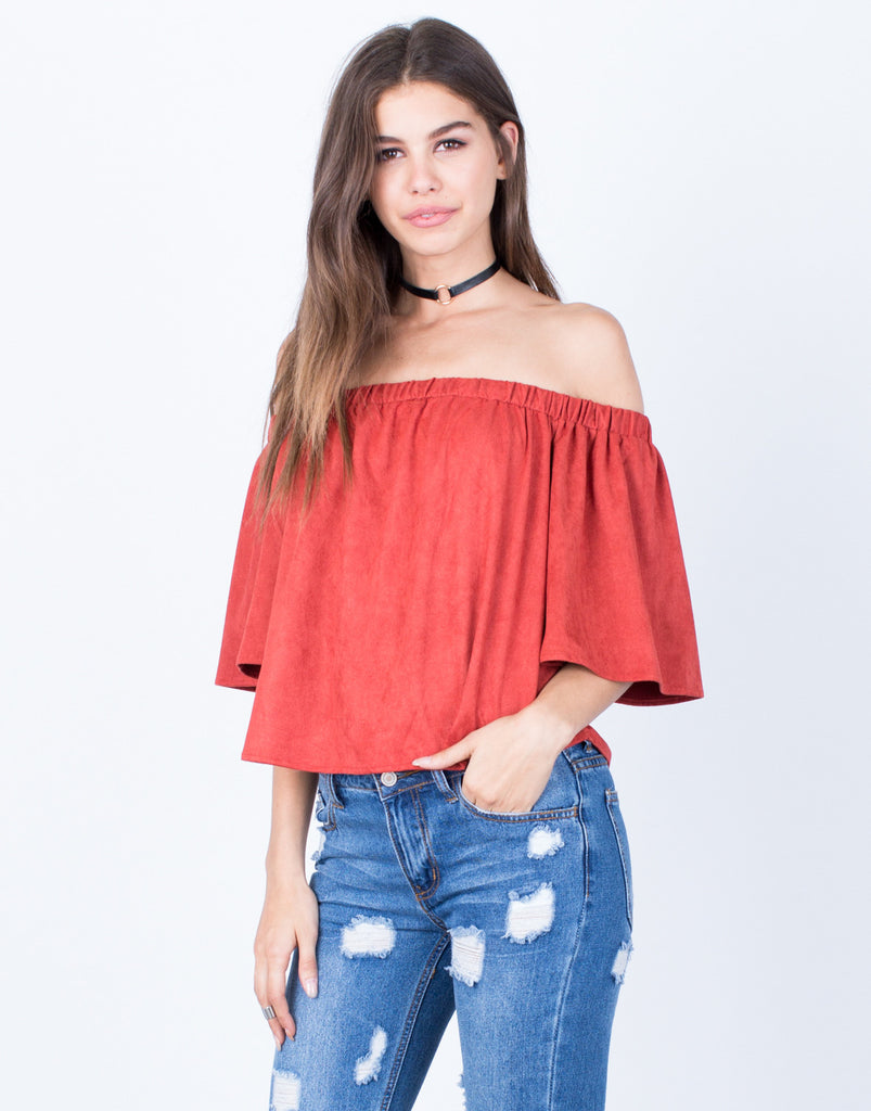 Front View of Suede Off-the-Shoulder Top
