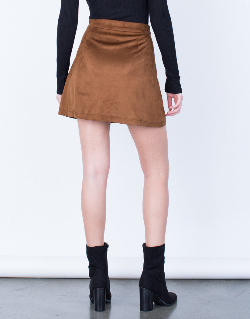 Back View of Suede Pocket Skirt