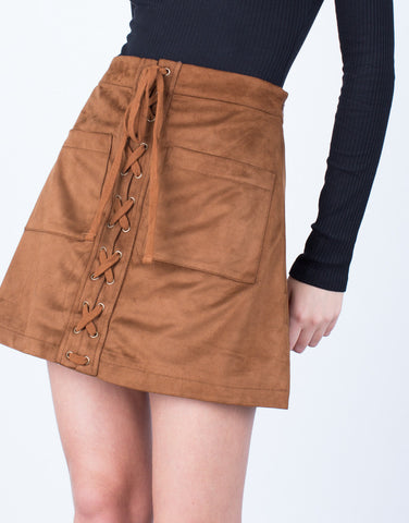 Detail of Suede Pocket Skirt