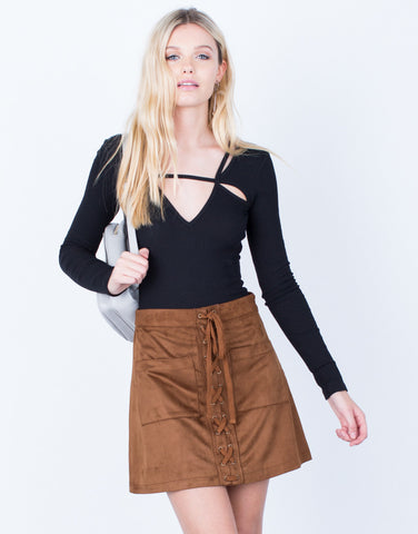 Front View of Suede Pocket Skirt