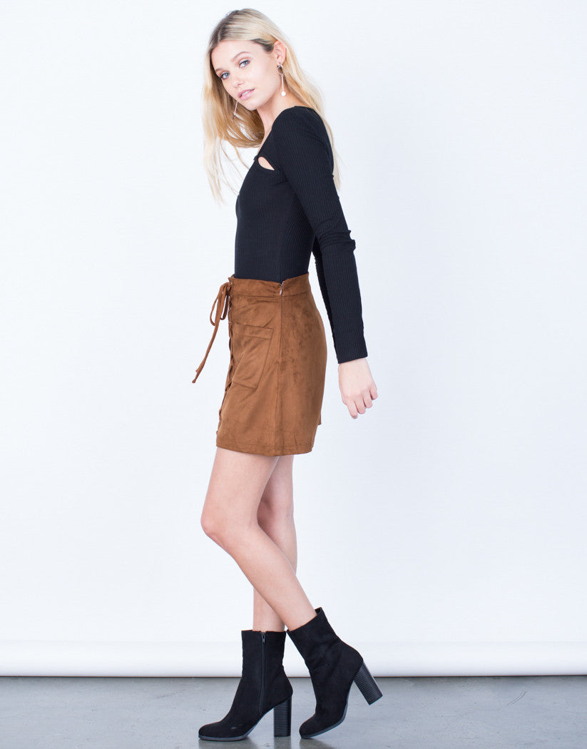 Side View of Suede Pocket Skirt