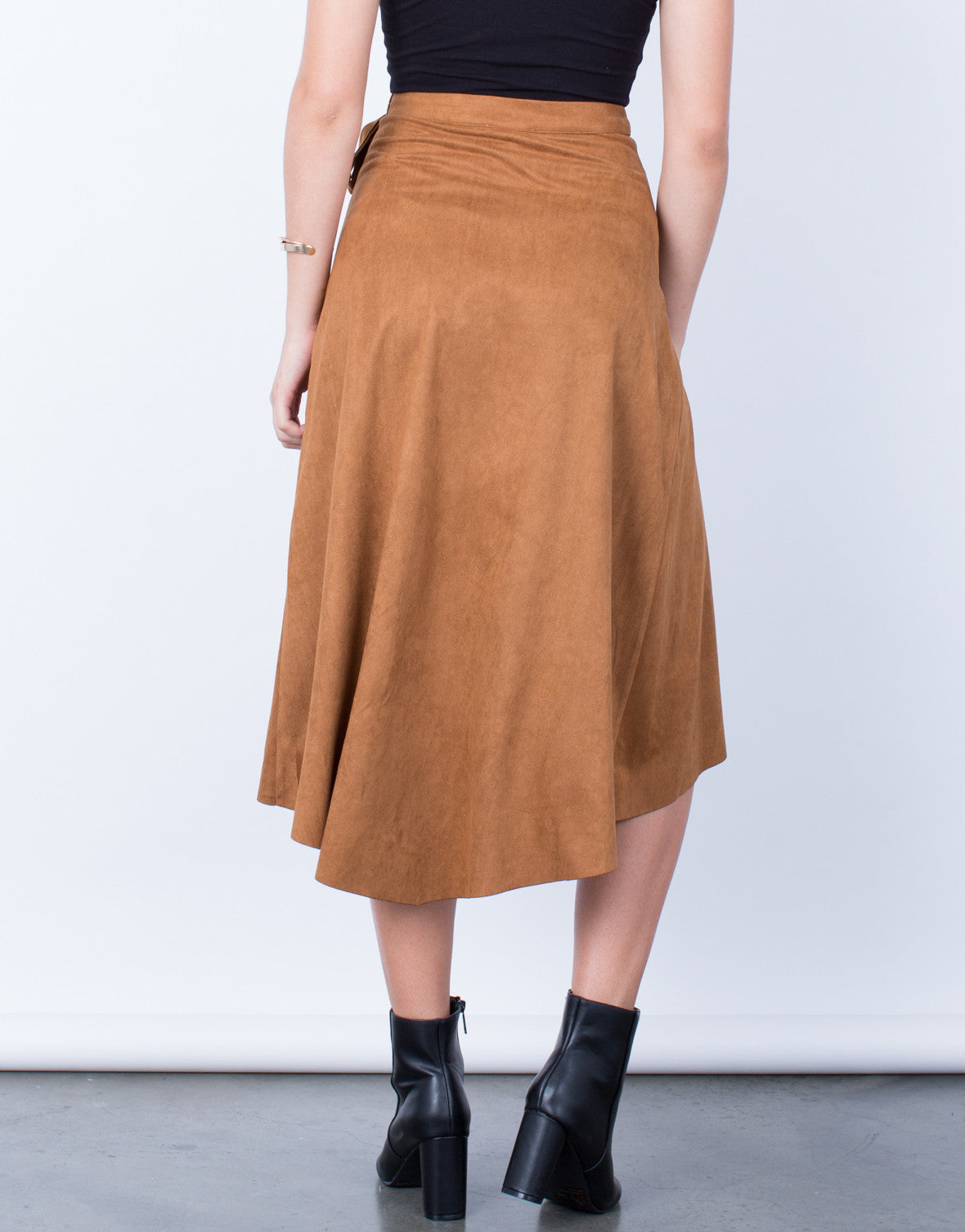 Back View of Suede Wrap Skirt