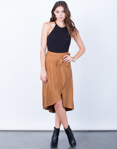 Front View of Suede Wrap Skirt