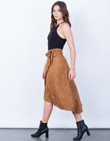 Side View of Suede Wrap Skirt