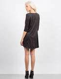 Back View of Suede 3/4 Sleeve Dress