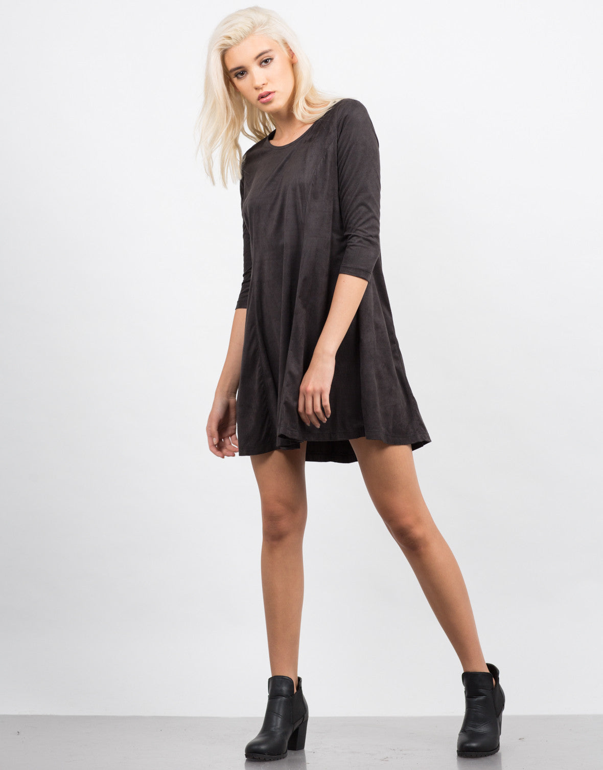 Front View of Suede 3/4 Sleeve Dress