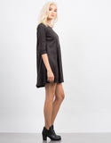 Side View of Suede 3/4 Sleeve Dress