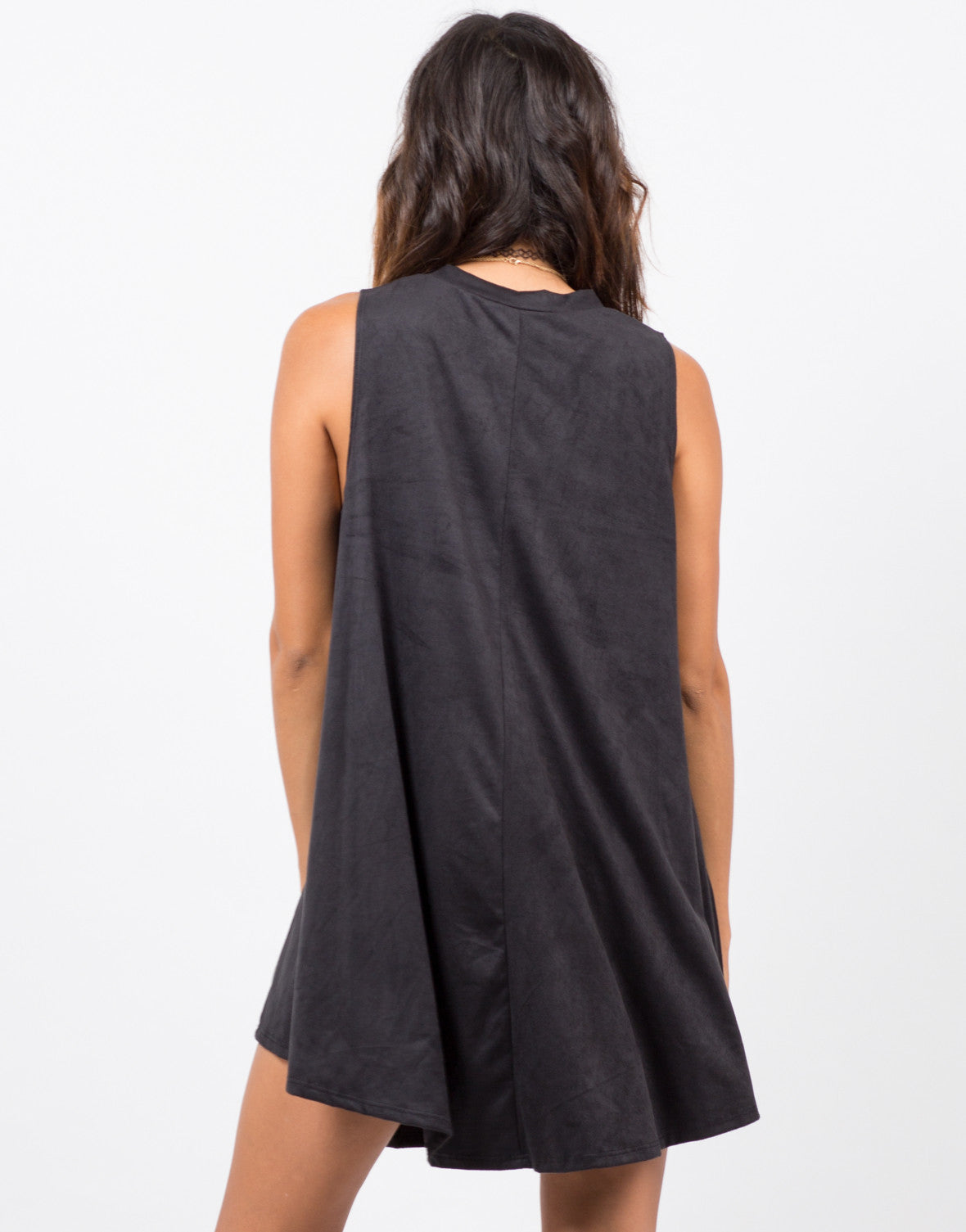 Back View of Suede A-LIne Dress