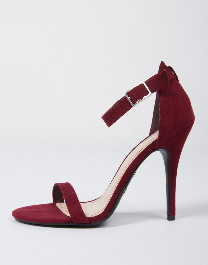 Suede Ankle Strapped Stiletto Heels - 2020AVE