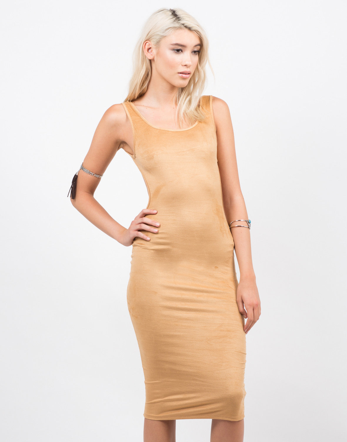 Front View of Suede Backless Tank Dress