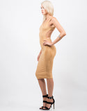 Side View of Suede Backless Tank Dress