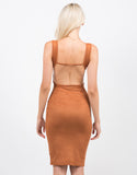 Back View of Suede Backless Tank Dress