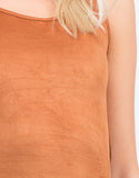 Detail of Suede Backless Tank Dress