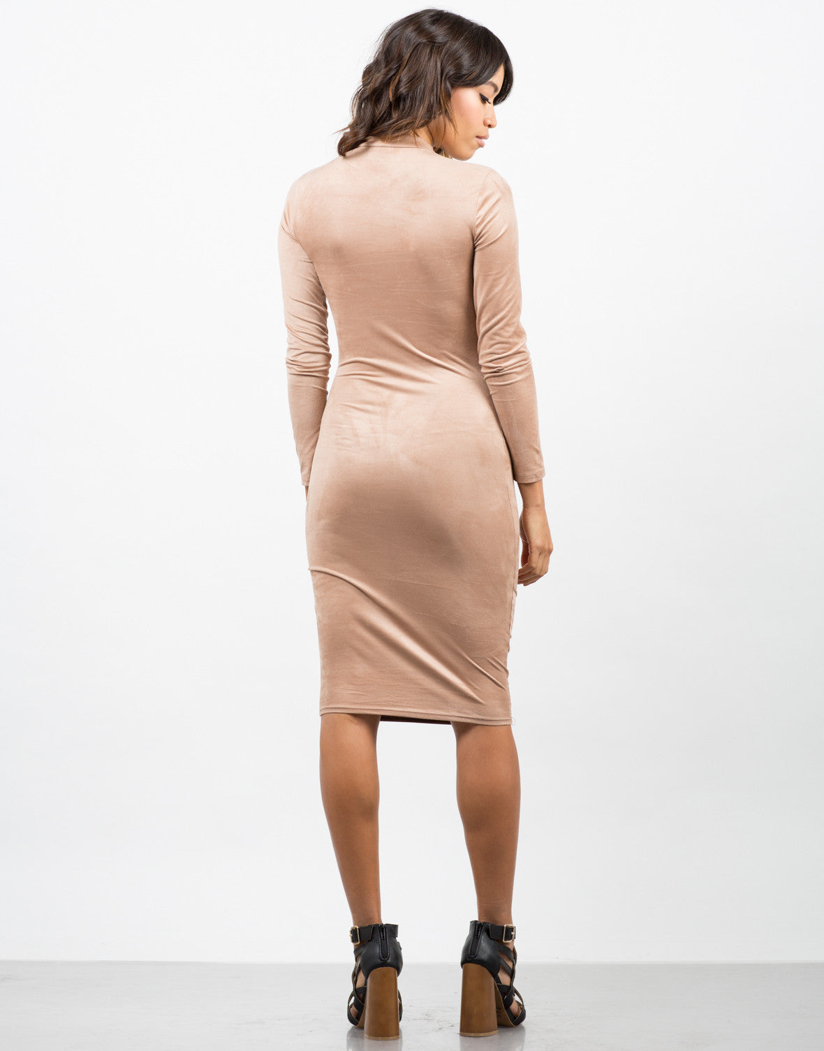 Back View of Suede Bodycon Dress