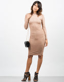 Front View of Suede Bodycon Dress