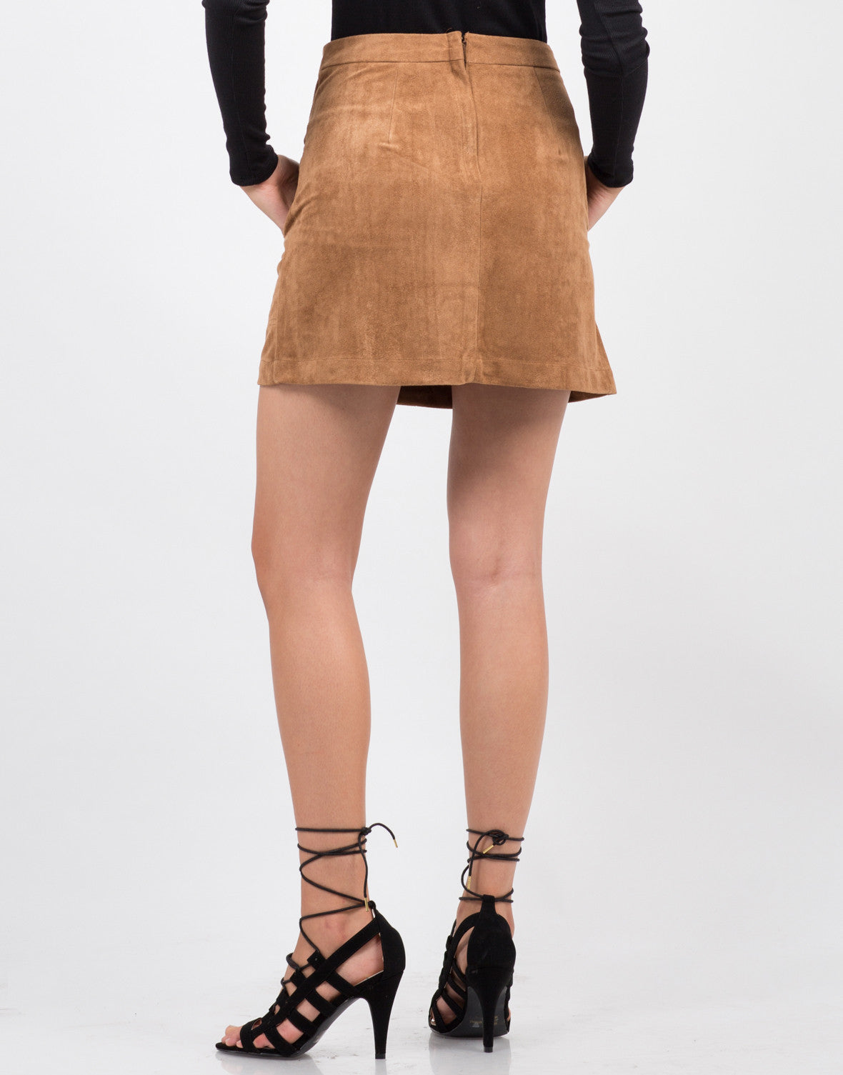 Back View of Suede Button Down Skirt