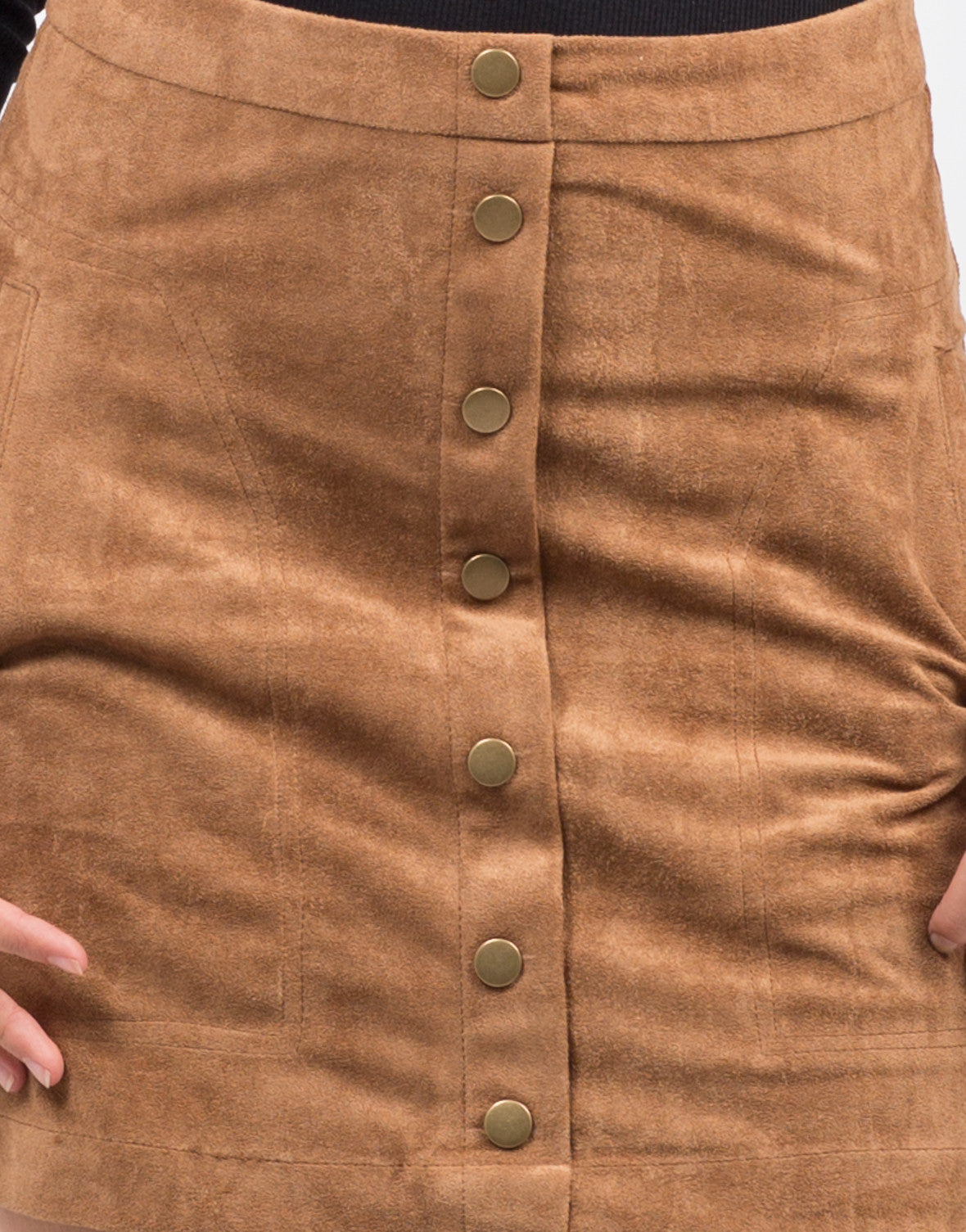 Detail of Suede Button Down Skirt