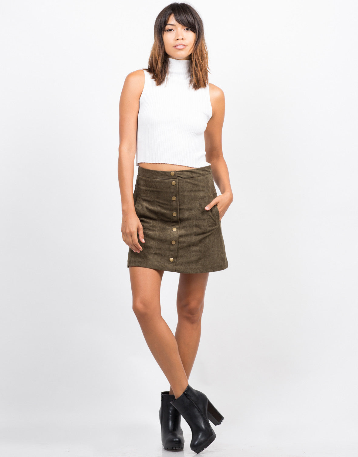 Front View of Suede Button Down Skirt
