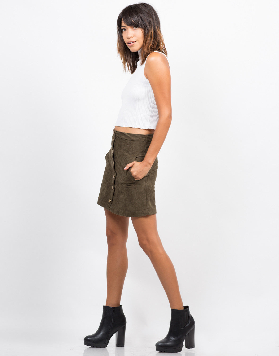 Side View of Suede Button Down Skirt
