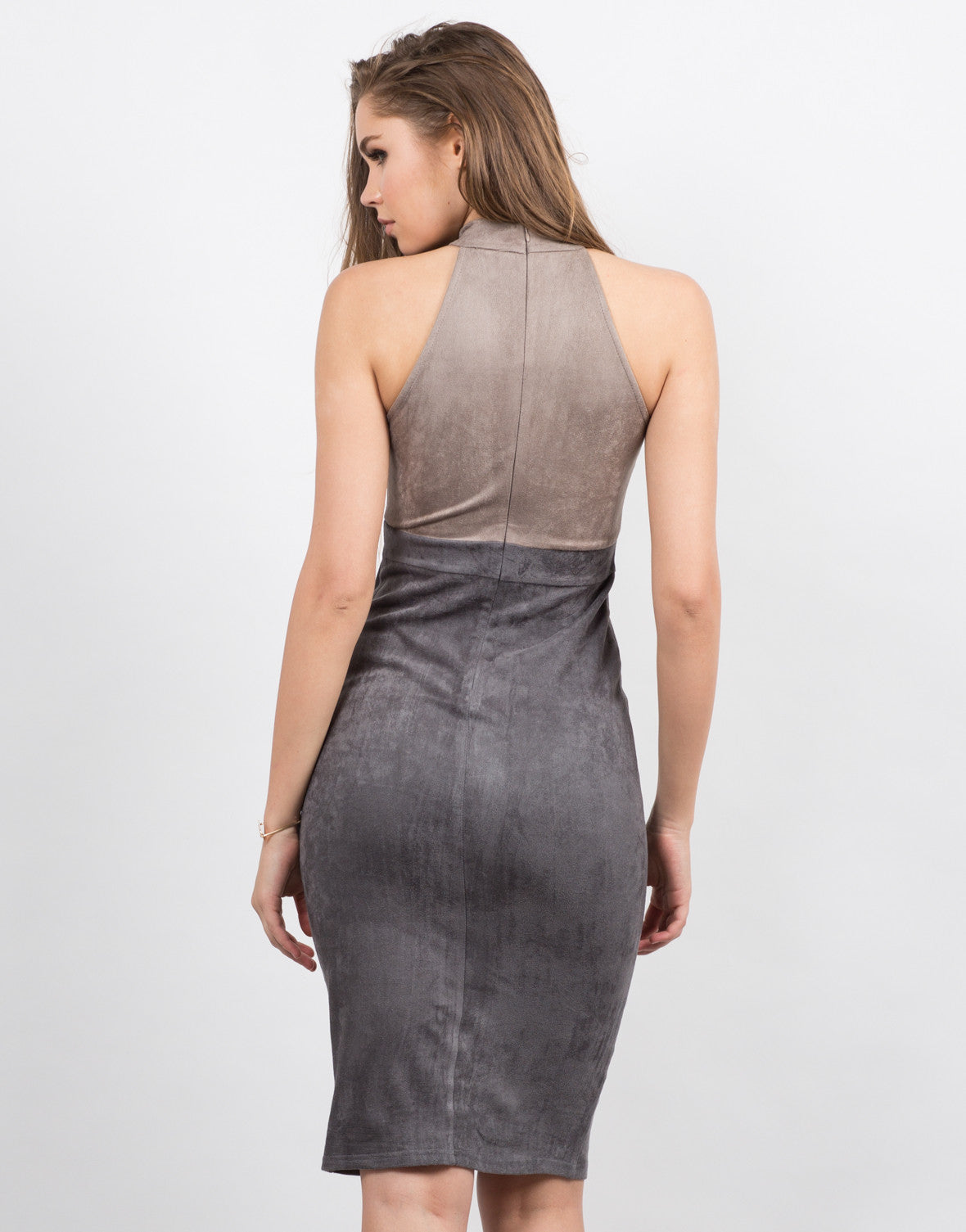 Back View of Suede Colorblock Dress
