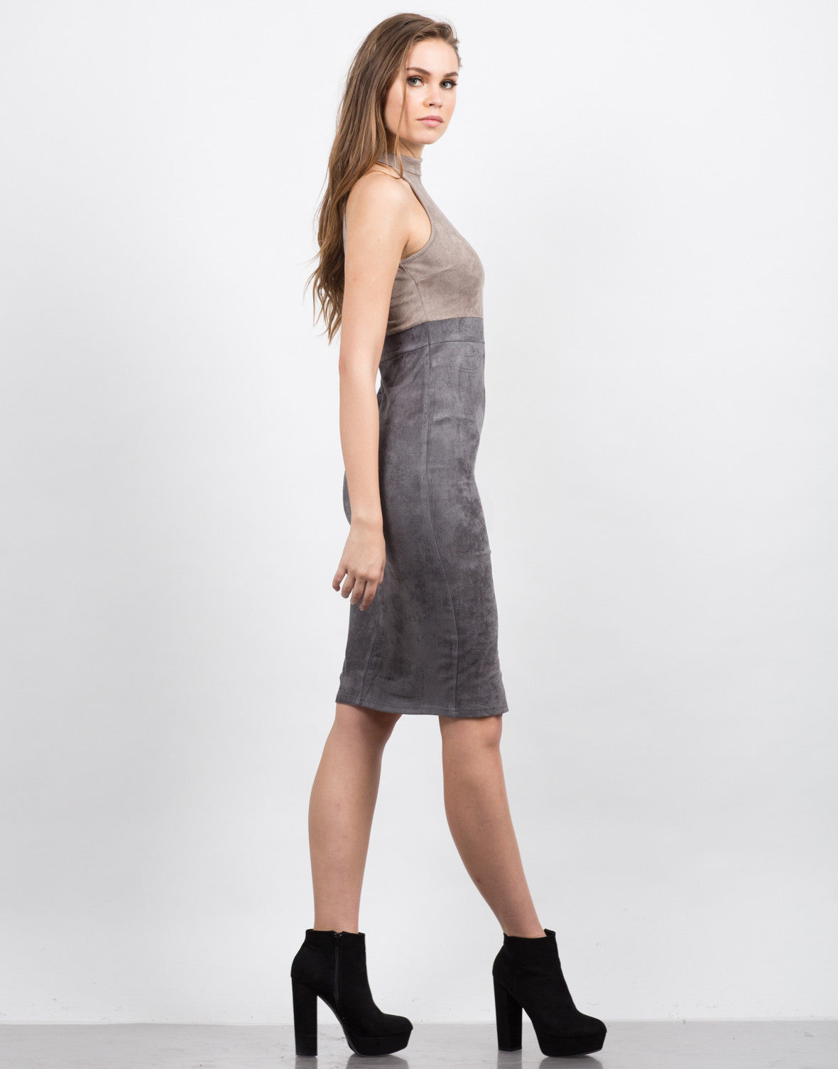 Side View of Suede Colorblock Dress