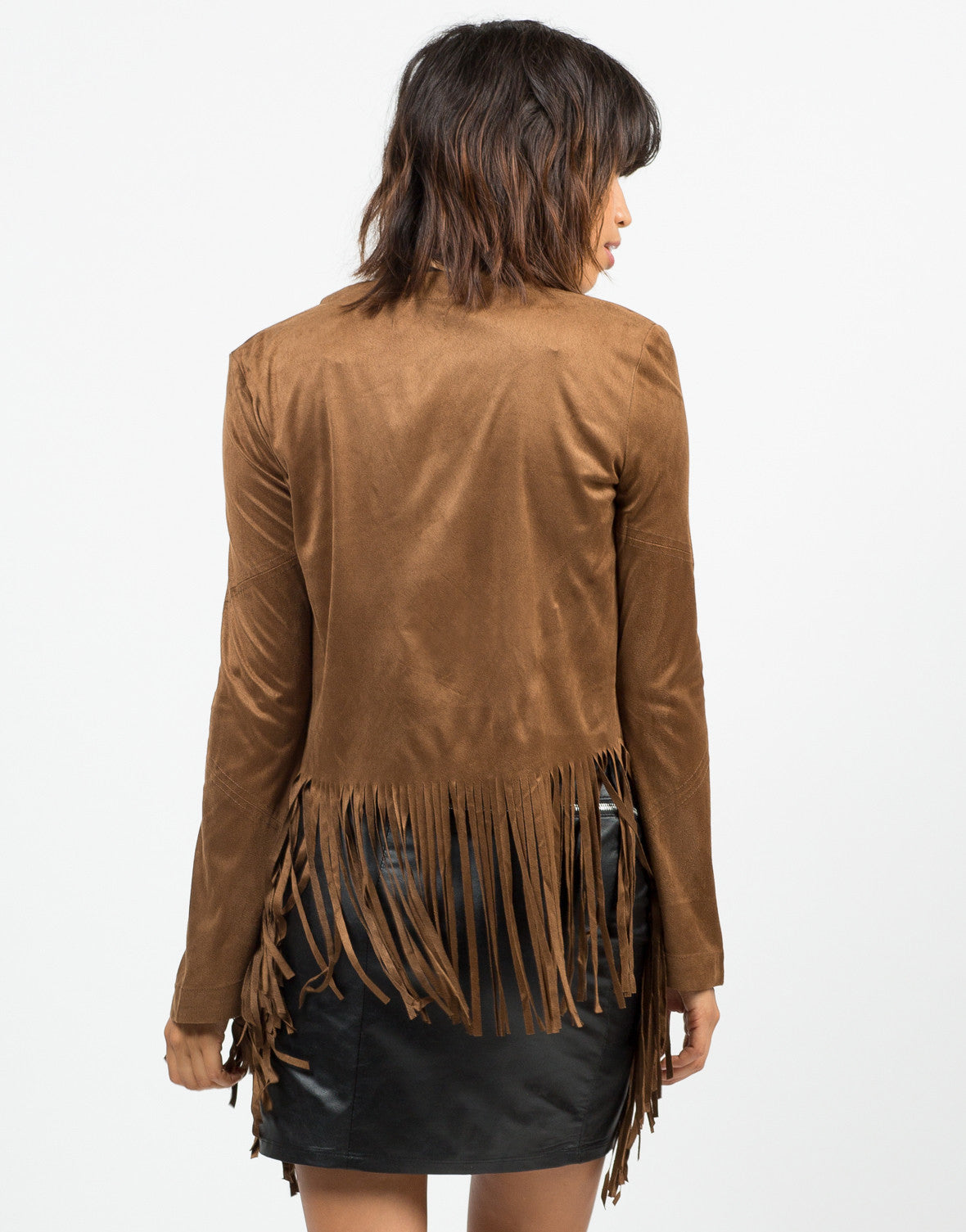 Back View of Suede Fringed Jacket