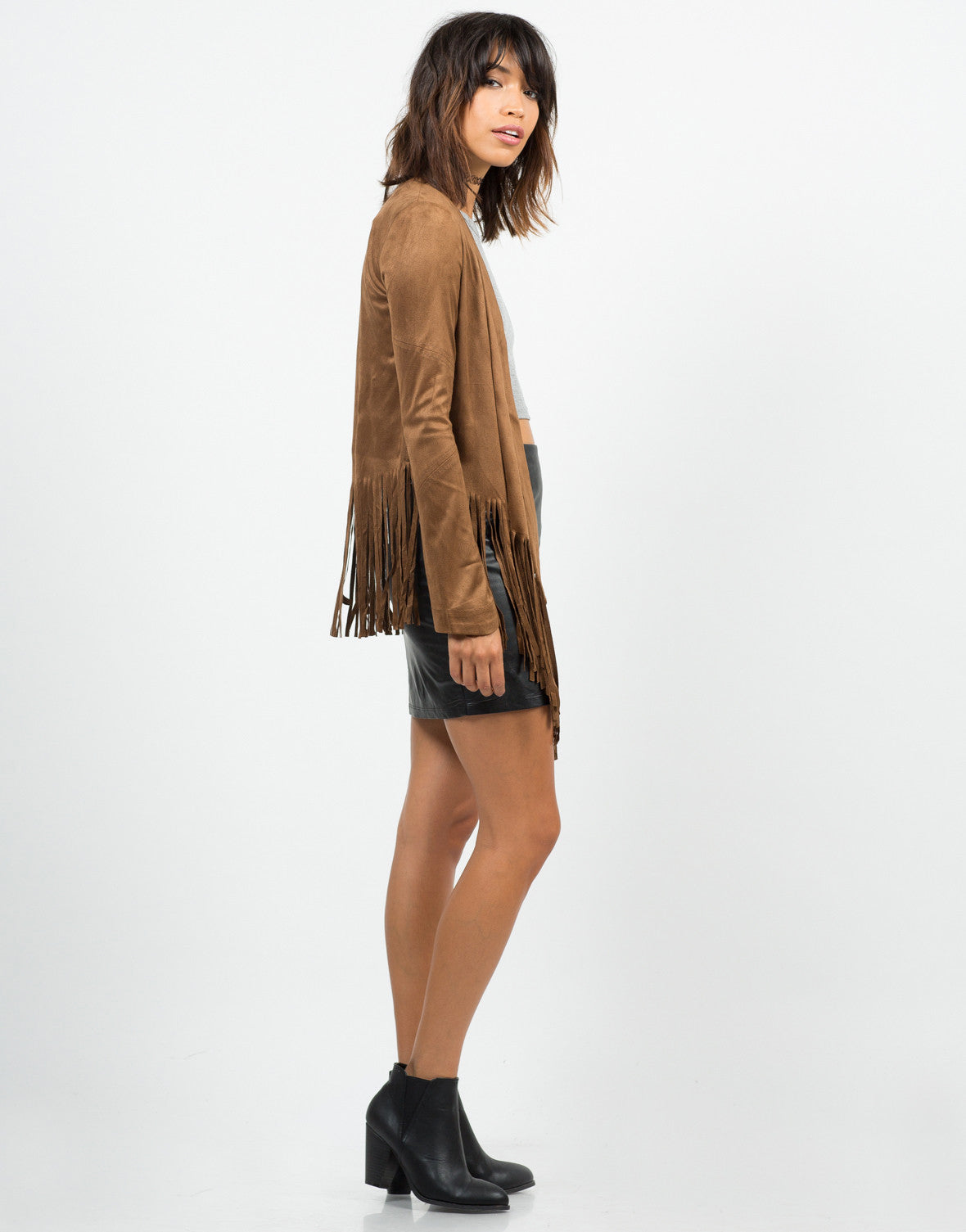 Side View of Suede Fringed Jacket