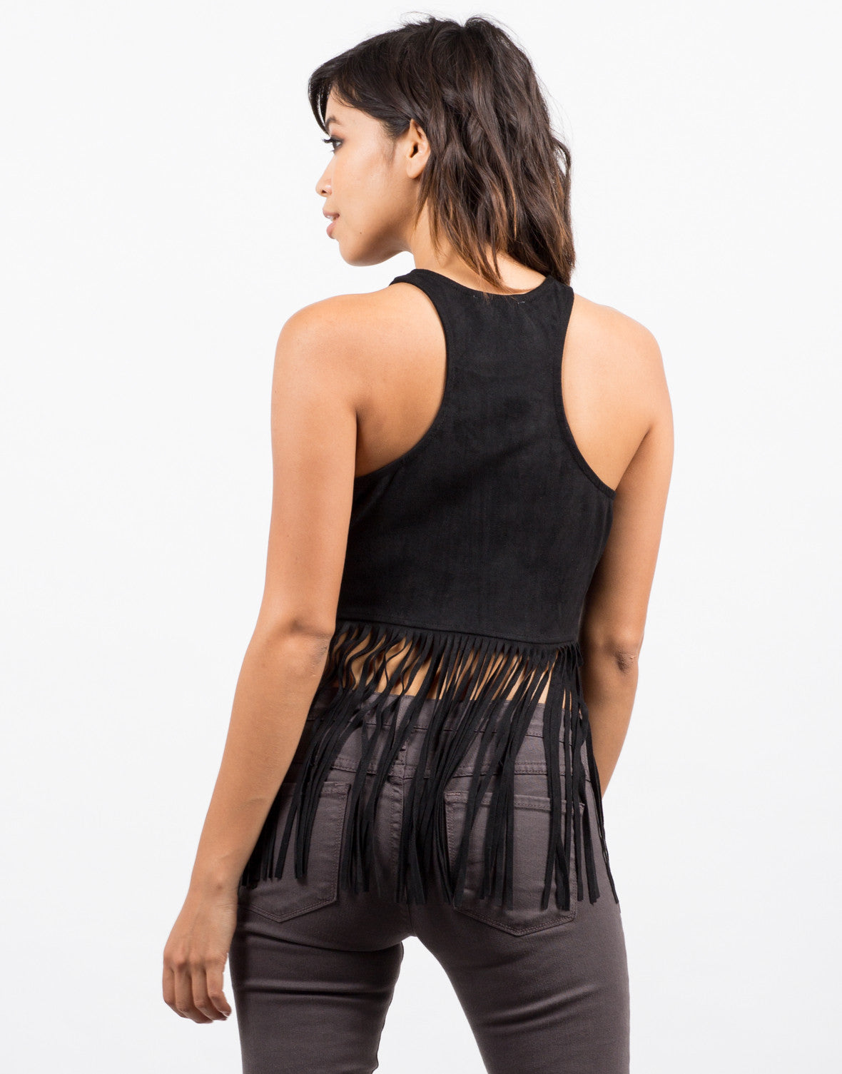 Back View of Suede Fringe Top