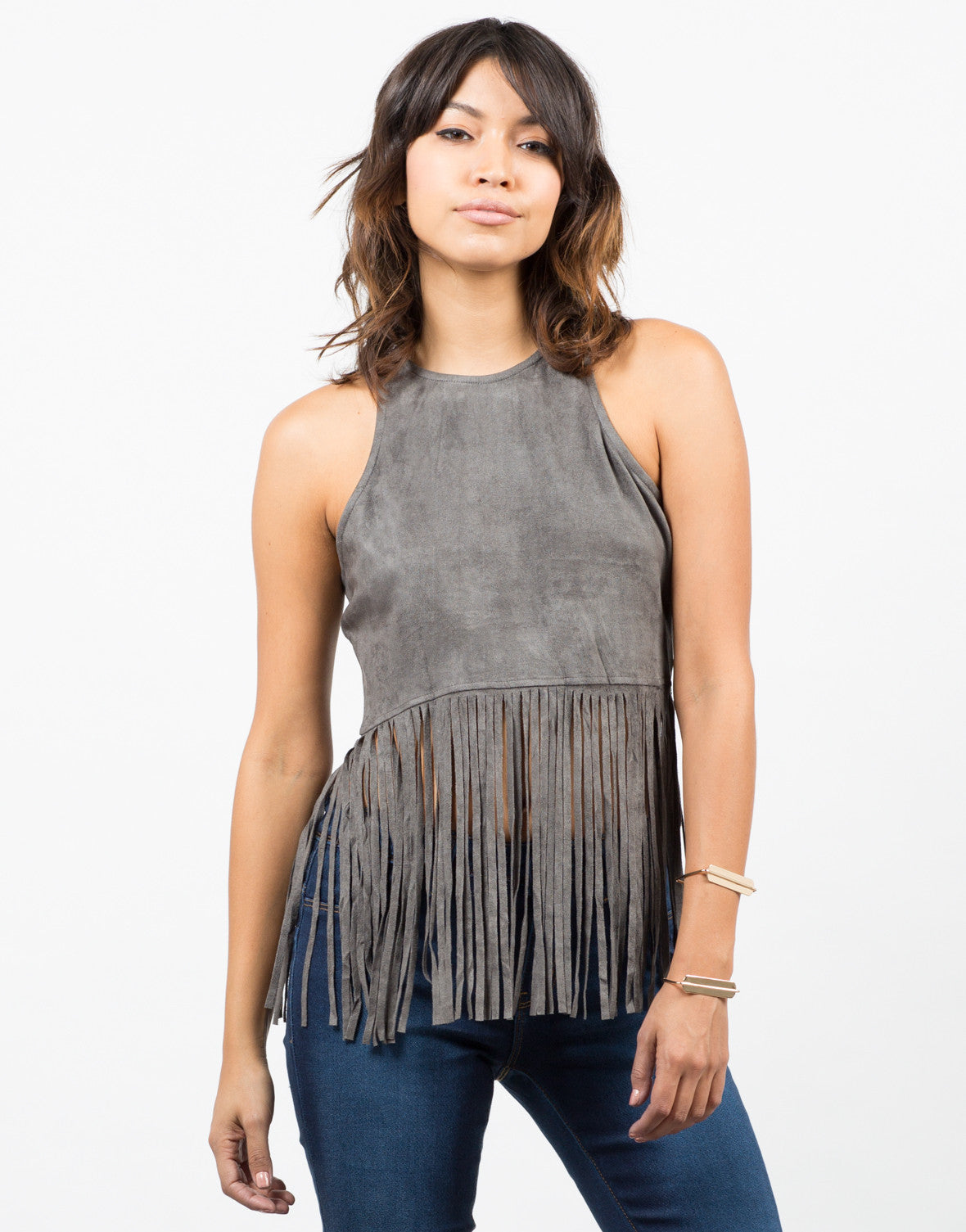 Front View of Suede Fringe Top