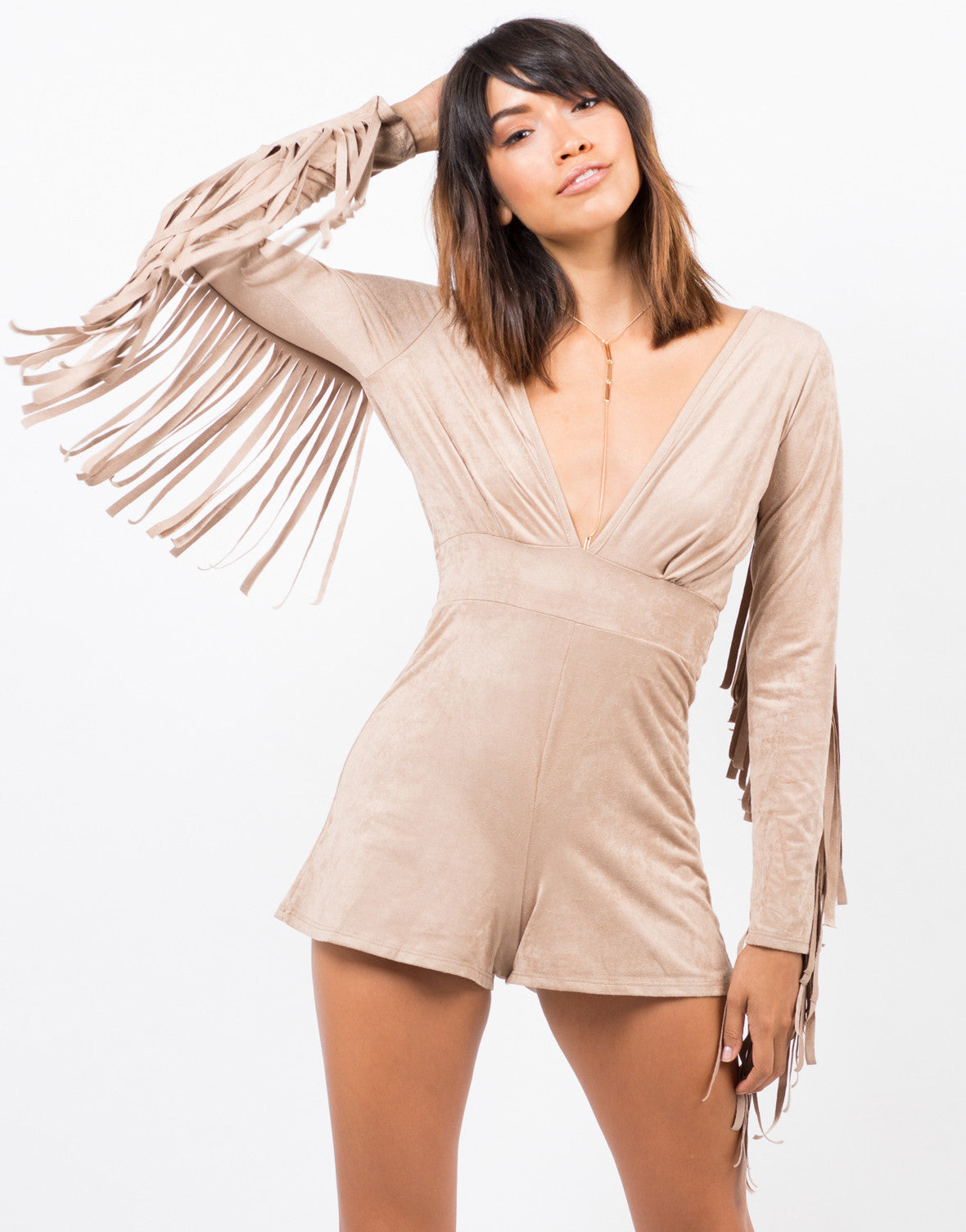 Front View of Suede Fringe Western Romper