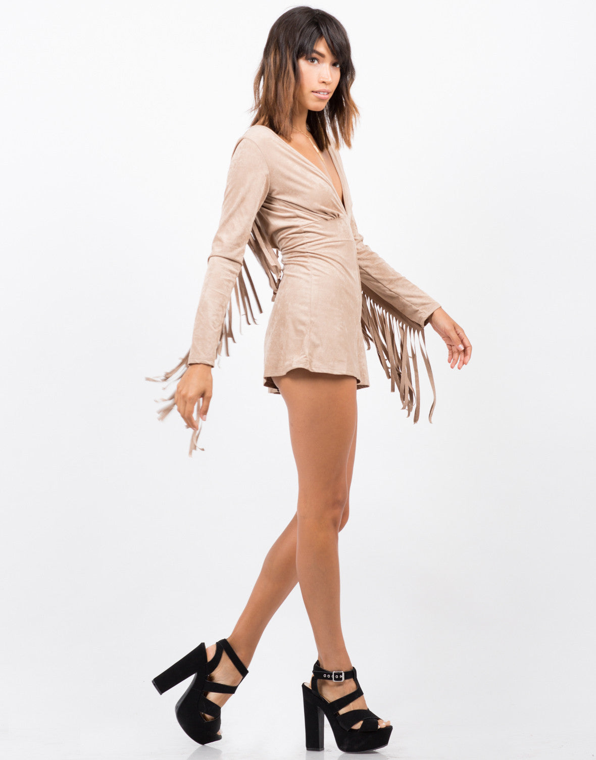 Side View of Suede Fringe Western Romper