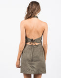 Back View of Suede Halter Dress