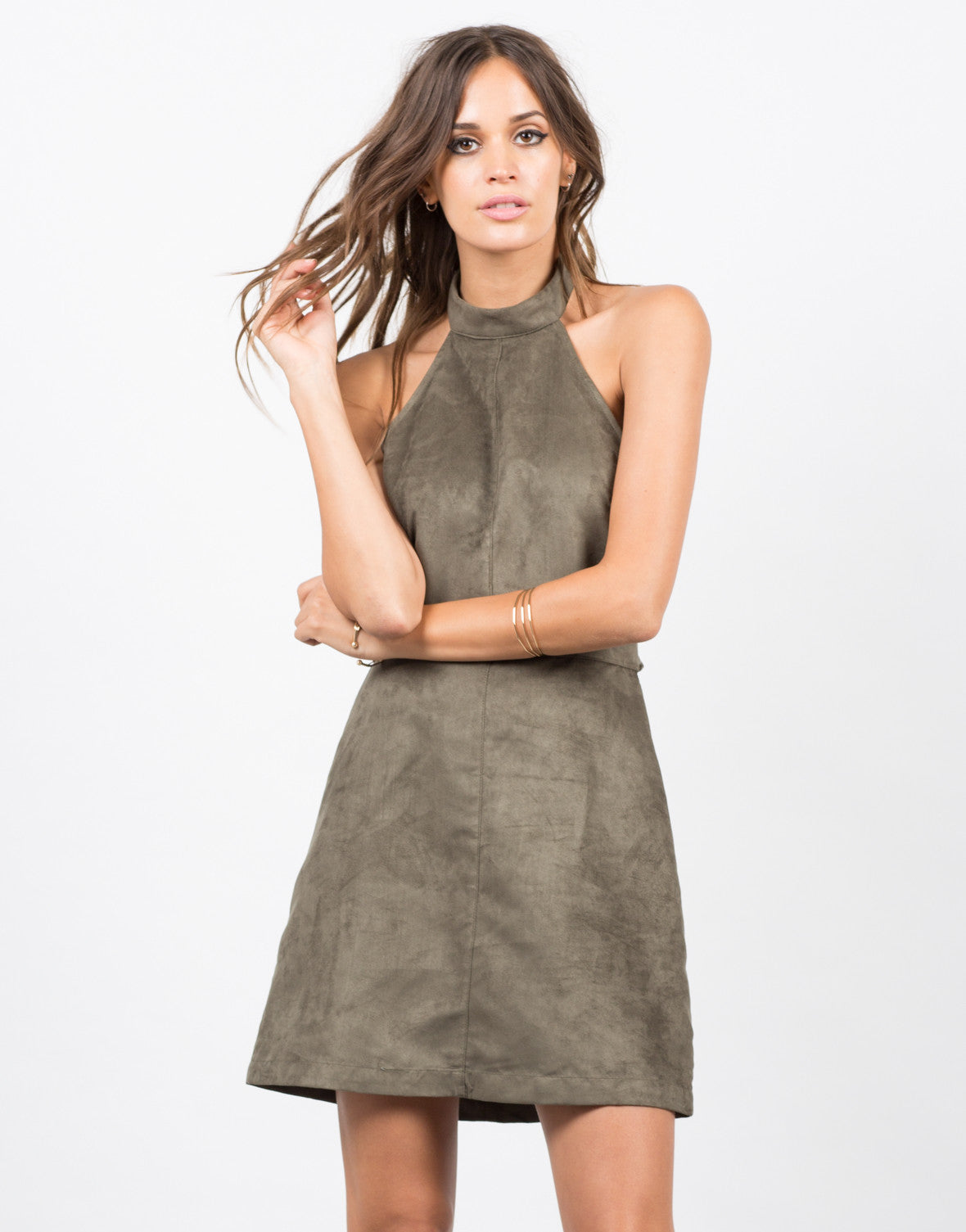 Front View of Suede Halter Dress
