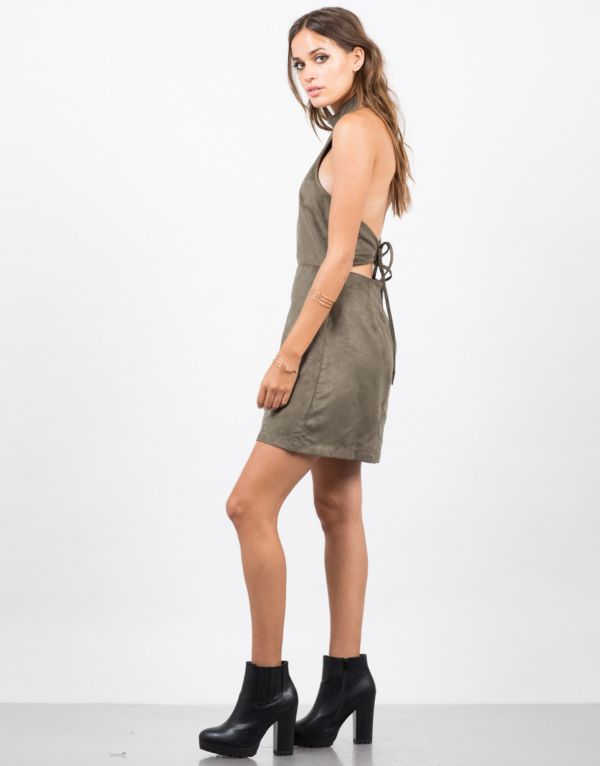 Side View of Suede Halter Dress