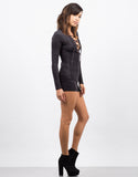 Side View of Suede Lace Up Romper