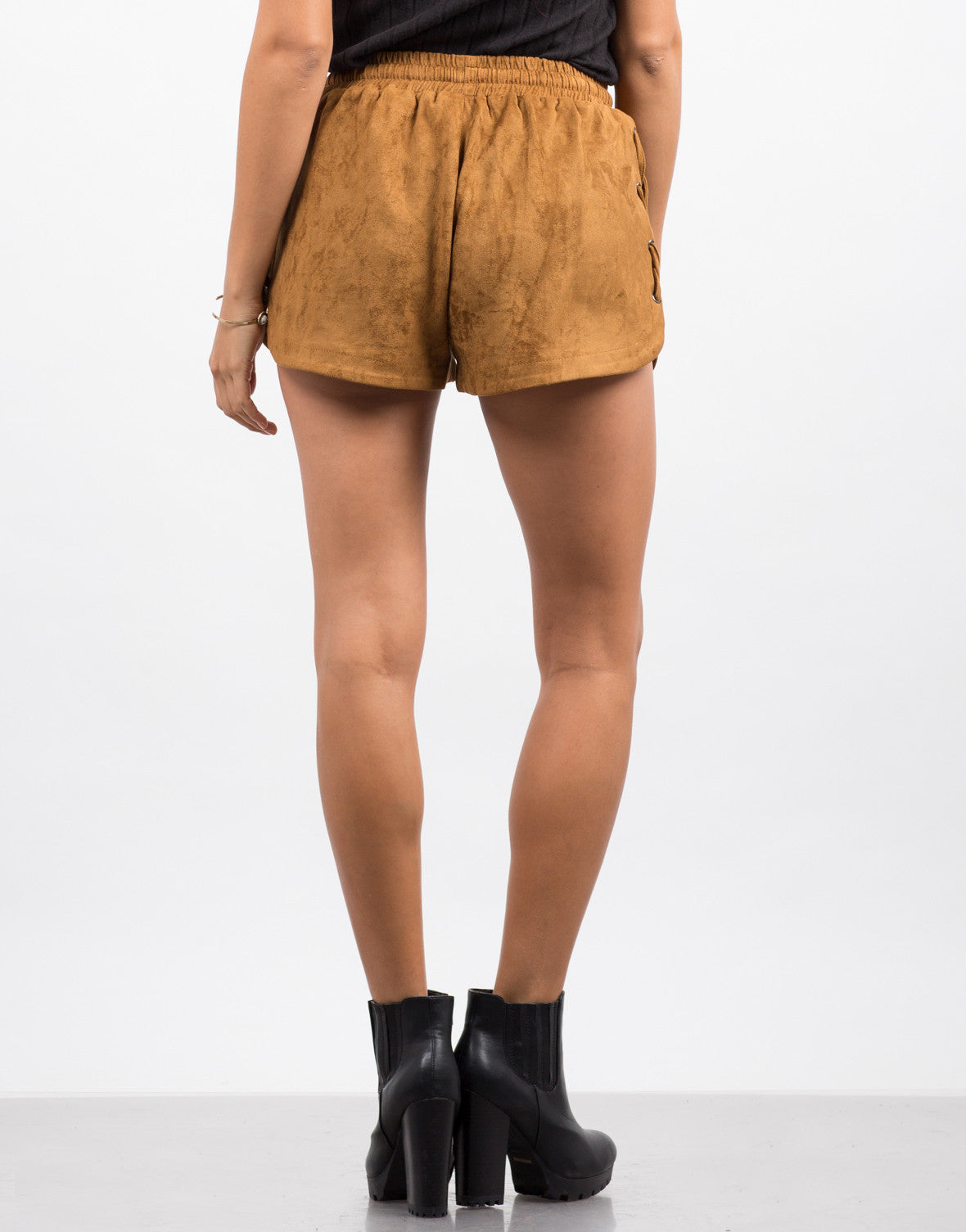 Back View of Suede Lace-Up Shorts