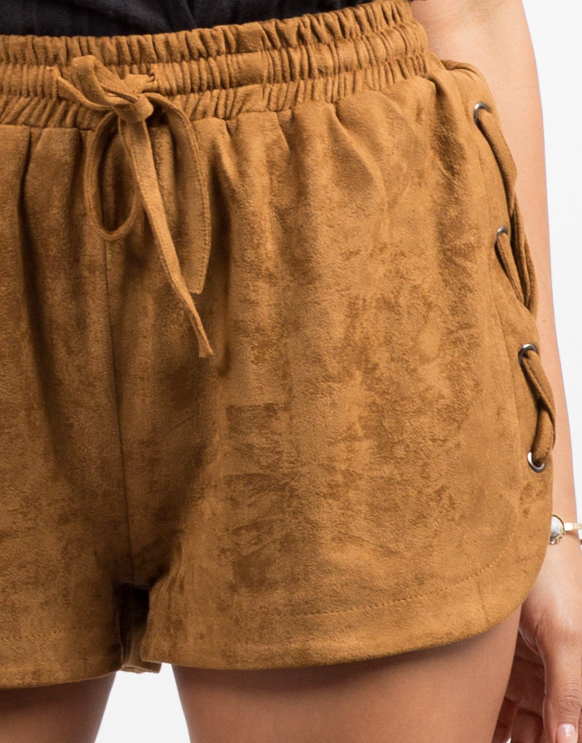 Detail of Suede Lace-Up Shorts