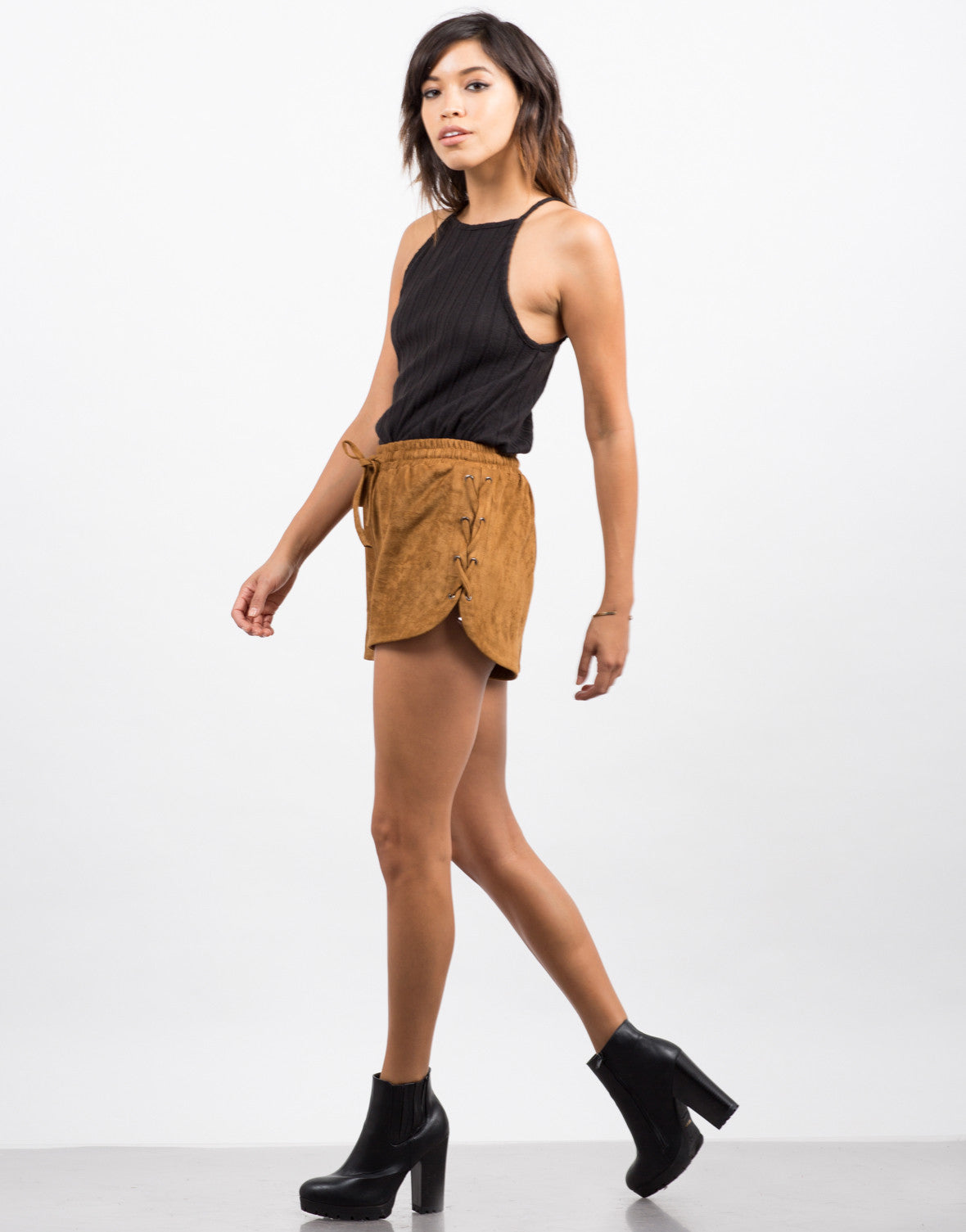 Side View of Suede Lace-Up Shorts