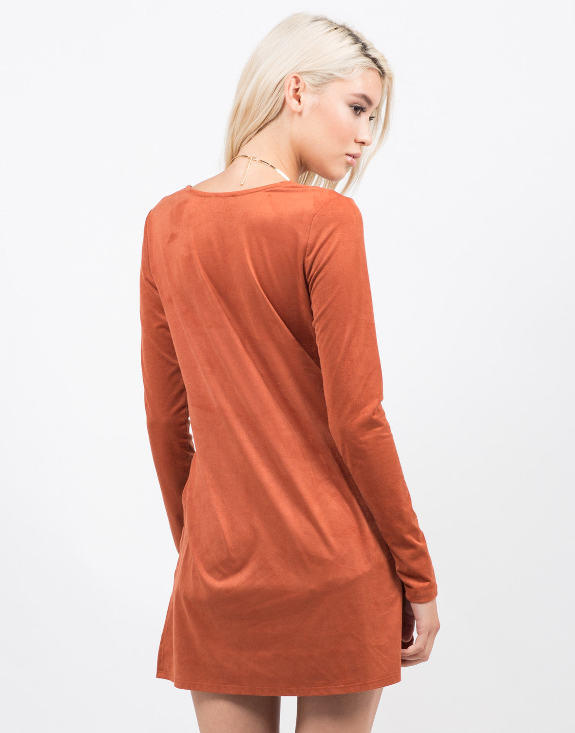 Back View of Suede Lace Up Slit Top