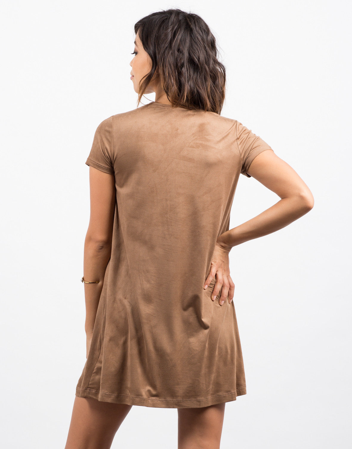Back View of Suede Lace Up Tee Dress